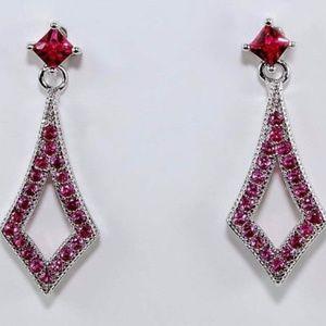 Kite Shape Drop 2CT Ruby 925 Silver Earrings